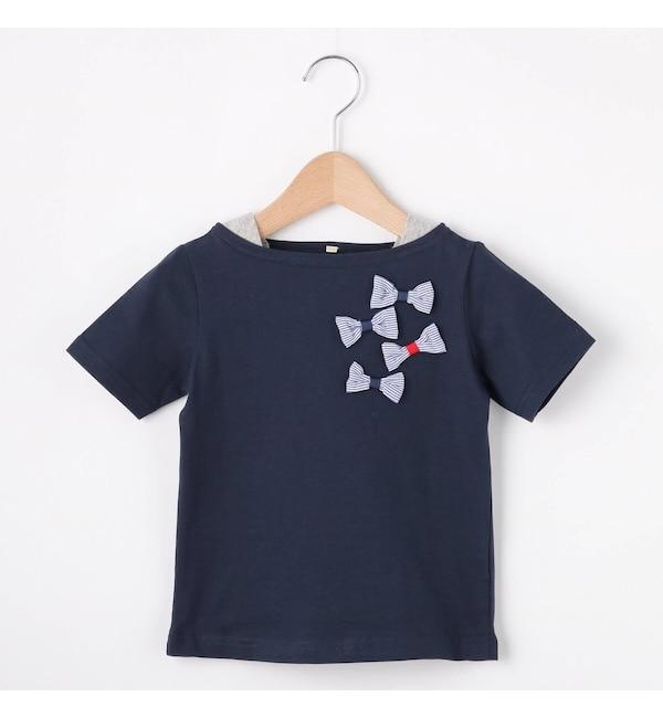 【ハッシュアッシュ/HusHusH】 【90-150cm】立体リボンフェイクレイヤードTシャツ