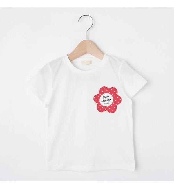 【ハッシュアッシュ/HusHusH】 【80-140cm】吸水速乾/お花ポケットTシャツ