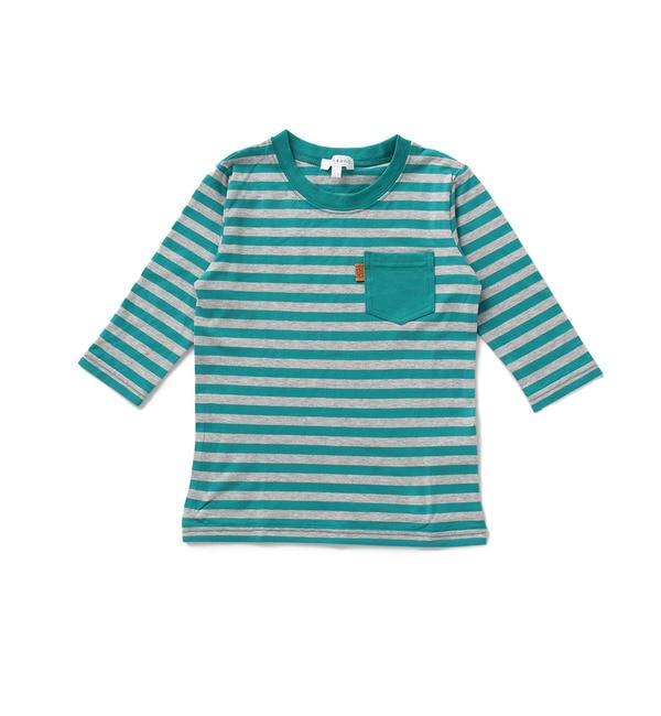 【サンカンシオン/3can4on】 七分袖ボーダー天竺Tシャツ [3000円(税込)以上で送料無料]