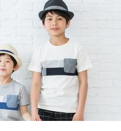 【サンカンシオン/3can4on】フロントパッチワークTシャツ[3000円(税込)以上で送料無料]