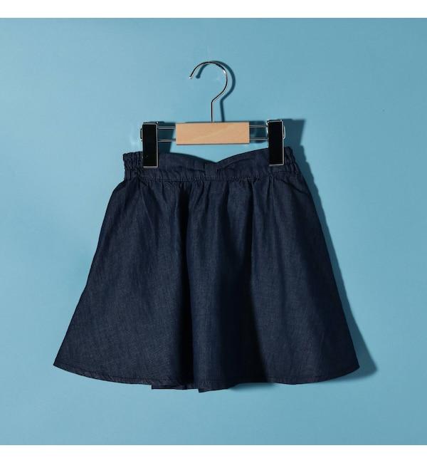 【サンカンシオン/3can4on】 【150cmまで】4.5ozデニム・フレアスカート