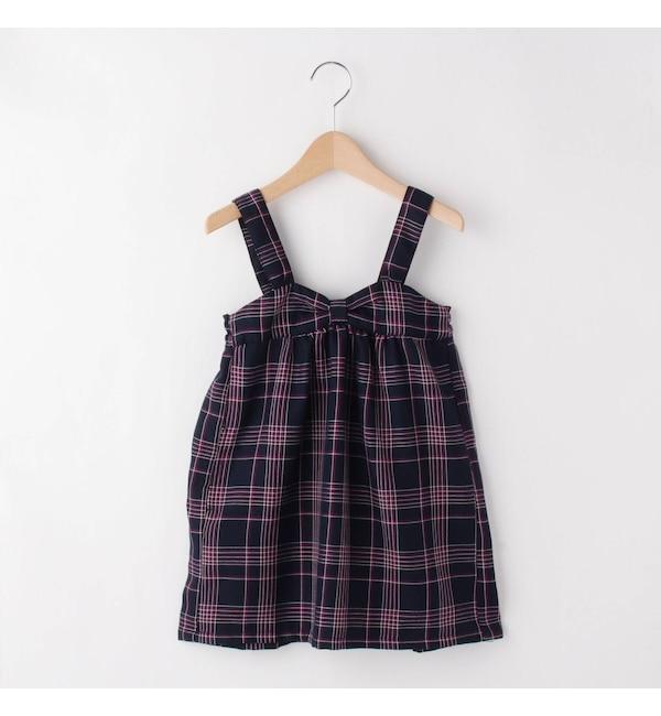 【サンカンシオン/3can4on】 チェック柄ジャンパースカート