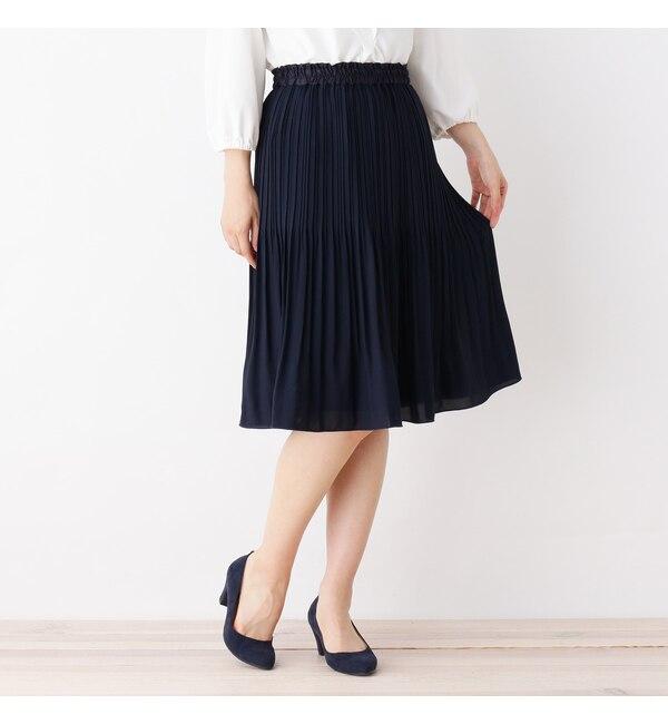 【サンカンシオン/3can4on】 【4(LL)WEB限定サイズ】ジョーゼットプリーツスカート