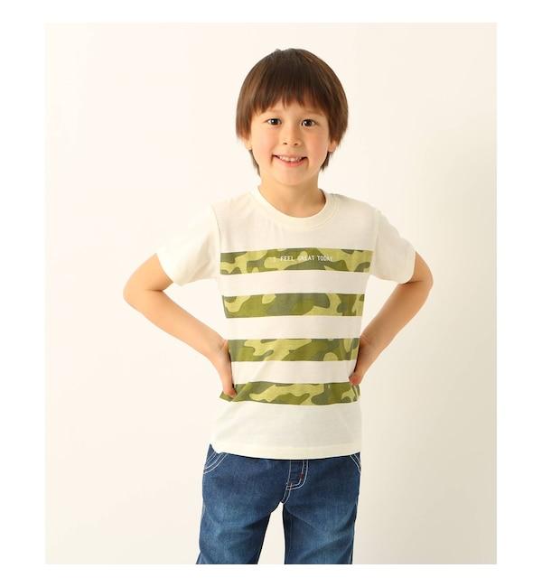 【サンカンシオン/3can4on】 【90cm?150cm】迷彩ボーダープリントTシャツ