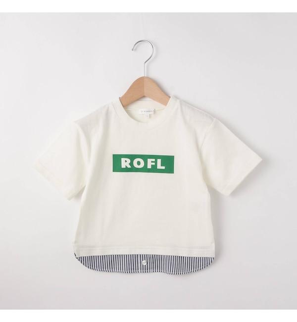 【サンカンシオン/3can4on】 【80cm?110cm】裾切替 ROFLロゴTシャツ