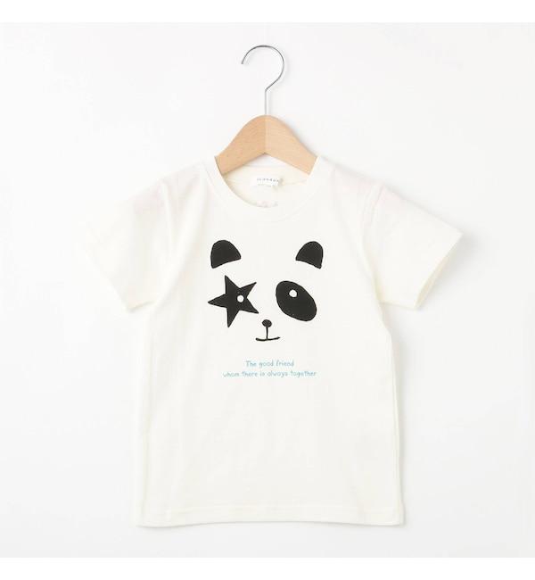 【サンカンシオン/3can4on】 【80cm?110cm】ネコハート&星パンダプリントTシャツ