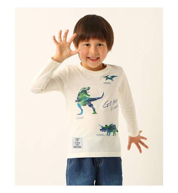 【サンカンシオン/3can4on】 【100cm?150cm】恐竜プリント長袖Tシャツ
