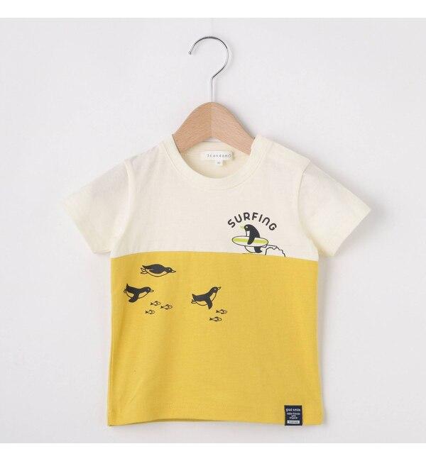 【サンカンシオン/3can4on】 【80cm?110cm】天竺切替ペンギンプリントTシャツ