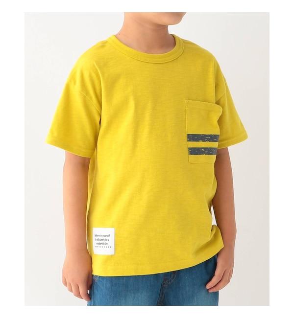【サンカンシオン/3can4on】 【コットン100%】【90cm~160cm】スラブ天竺 ポケットボーダーTシャツ