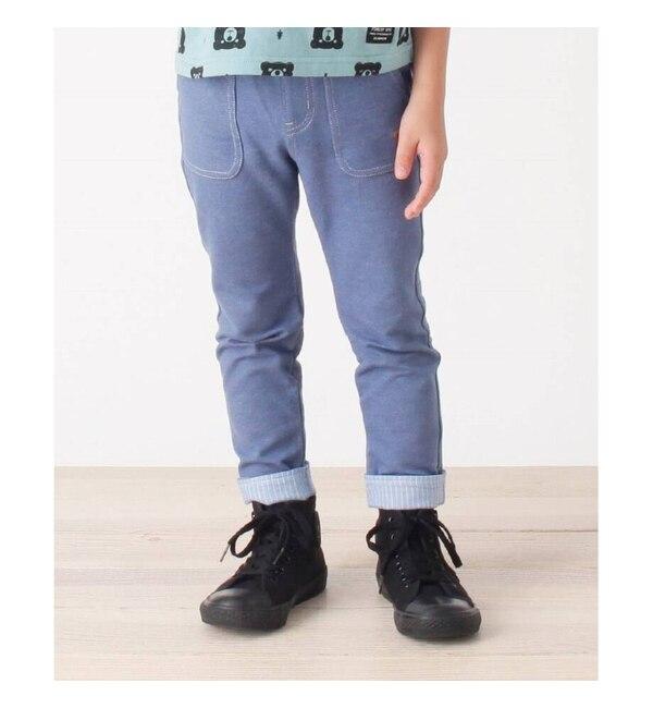 【サンカンシオン/3can4on】 【80-110cm】デニムジャージ裾ストライプパンツ