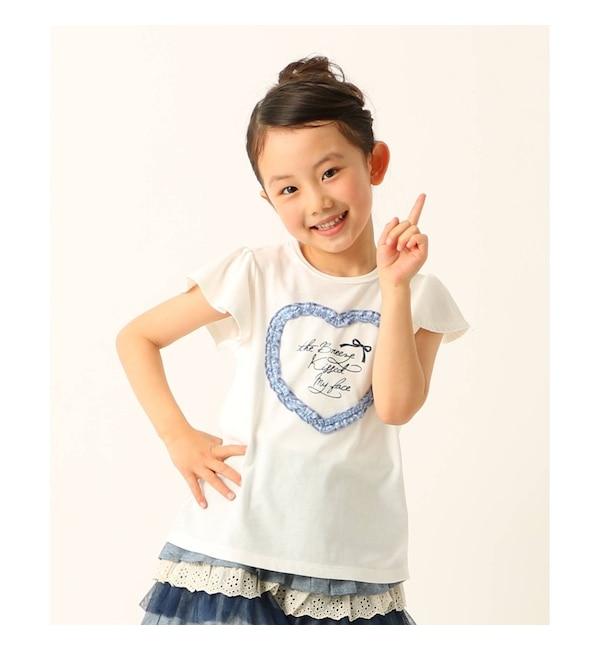 【サンカンシオン/3can4on】 【抗菌防臭】【100cm?150cm】フリルハートTシャツ
