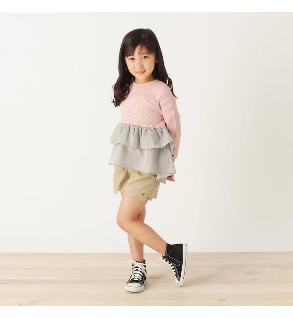 【サンカンシオン/3can4on】 【90-140cm】裾デザインショートパンツ