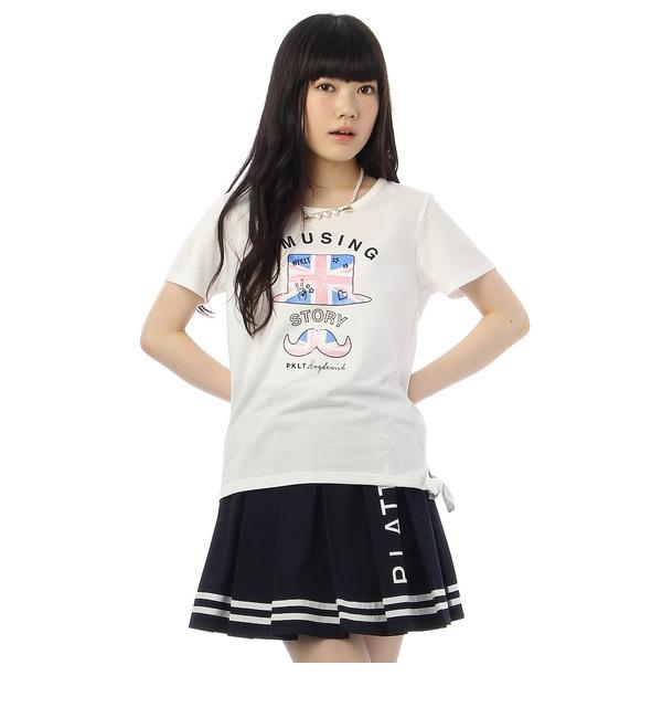 【ピンクラテ/PINK?Latte】 サイドリボンプリントTシャツ [3000円(税込)以上で送料無料]