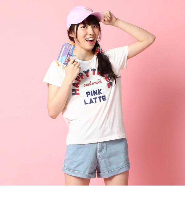 【ピンクラテ/PINK?Latte】 発泡ロゴTシャツ [3000円(税込)以上で送料無料]