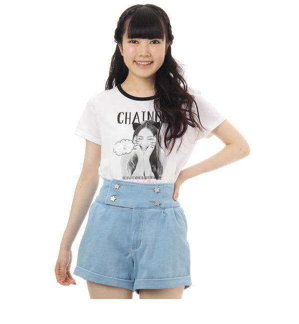 【ピンクラテ/PINK?Latte】 ガールフォトプリントTシャツ [3000円(税込)以上で送料無料]