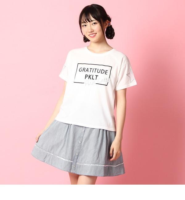 【ピンクラテ/PINK?Latte】 デニムライクフレアスカート [3000円(税込)以上で送料無料]