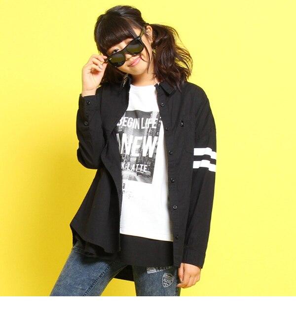【ピンクラテ/PINK?Latte】 ロゴラインシャツ [3000円(税込)以上で送料無料]