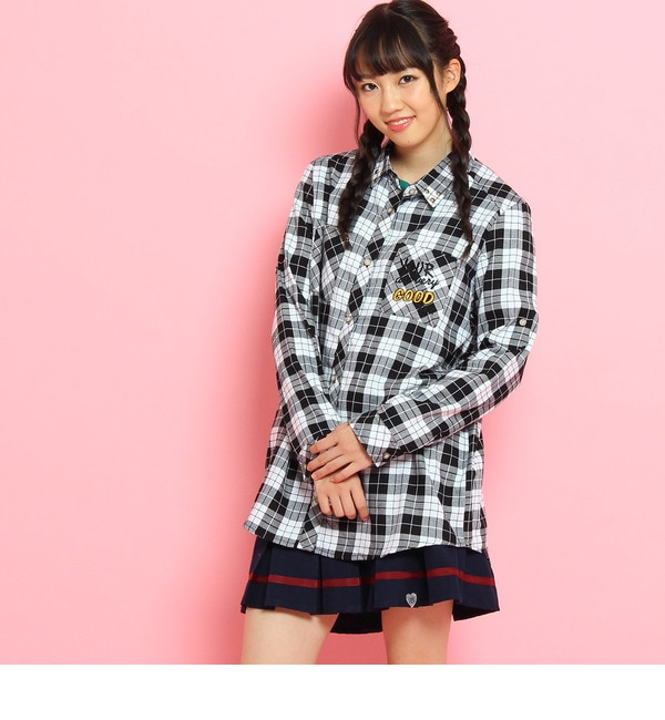 【ピンクラテ/PINK?Latte】 バックプリントチェックシャツ [3000円(税込)以上で送料無料]