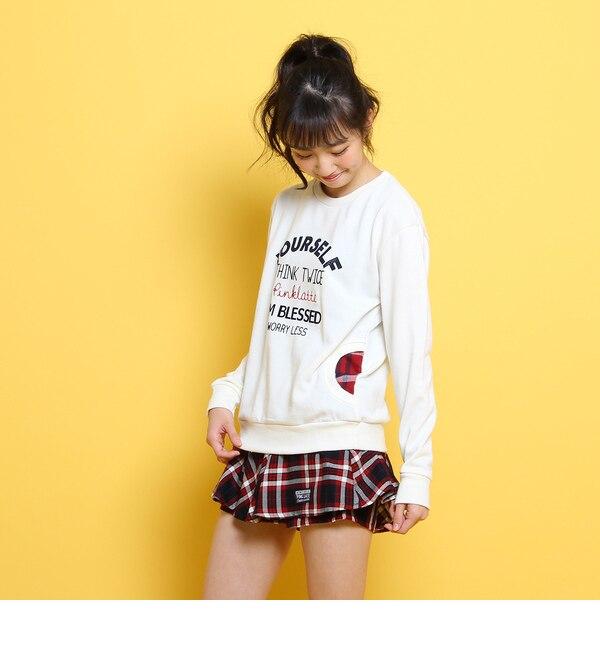 【ピンクラテ/PINK?Latte】 チェックポケットロゴスウェット [送料無料]