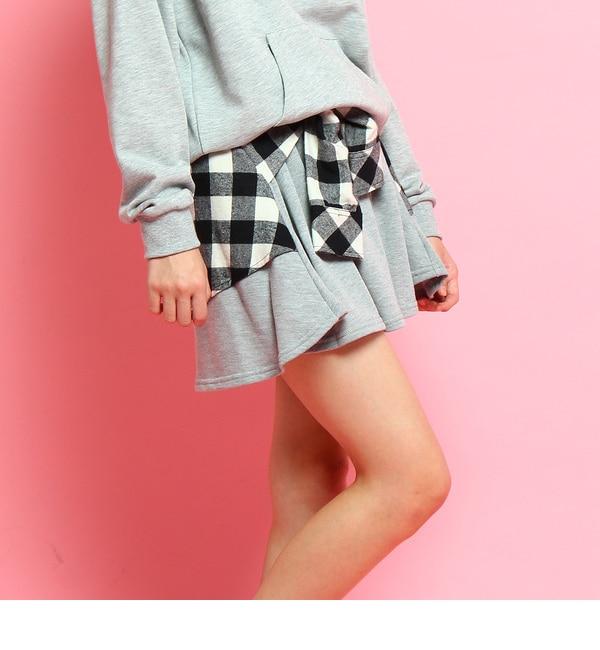【ピンクラテ/PINK?Latte】 フェイクレイヤードスウェットスカート [送料無料]