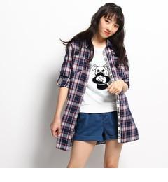 【ピンクラテ/PINK?Latte】ロングチェックシャツ[送料無料]