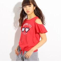 【ピンクラテ/PINK?Latte】 ★ニコラ掲載★ハートグラス肩あきTシャツ [送料無料]