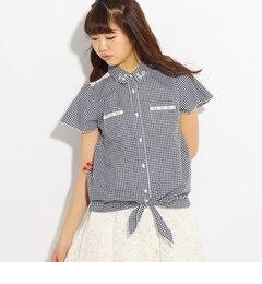 【ピンクラテ/PINK?Latte】レース切り替え前結びシャツ[送料無料]