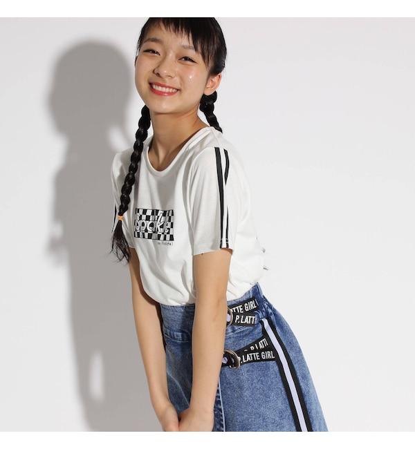 【ピンクラテ/PINK-Latte】 袖ラインチェッカーロゴ Tシャツ