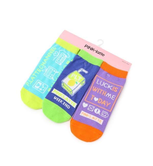 【ピンクラテ/PINK-Latte】 ネオンカラーショートソックス(3P)