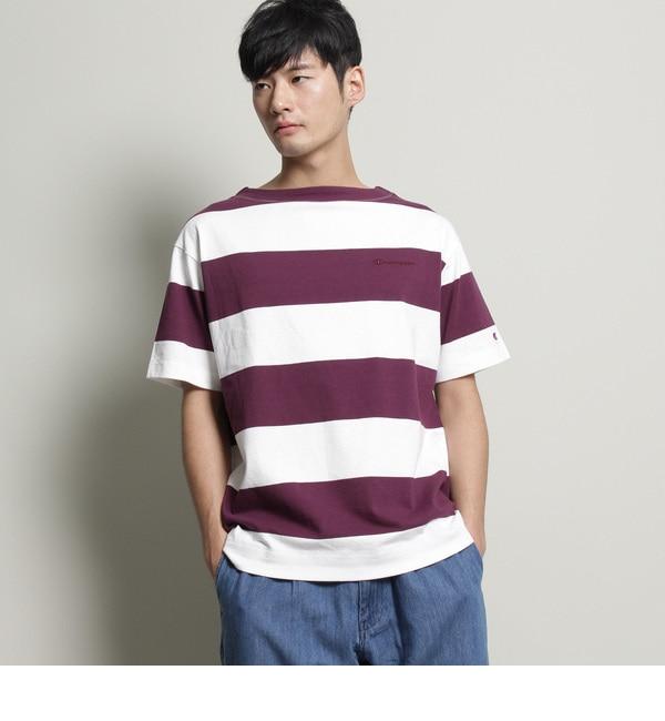 【チャンピオン別注】ビッグボーダーTシャツ【ザ ショップ ティーケー/THE SHOP TK メンズ Tシャツ・カットソー パープル(383) ルミネ LUMINE】
