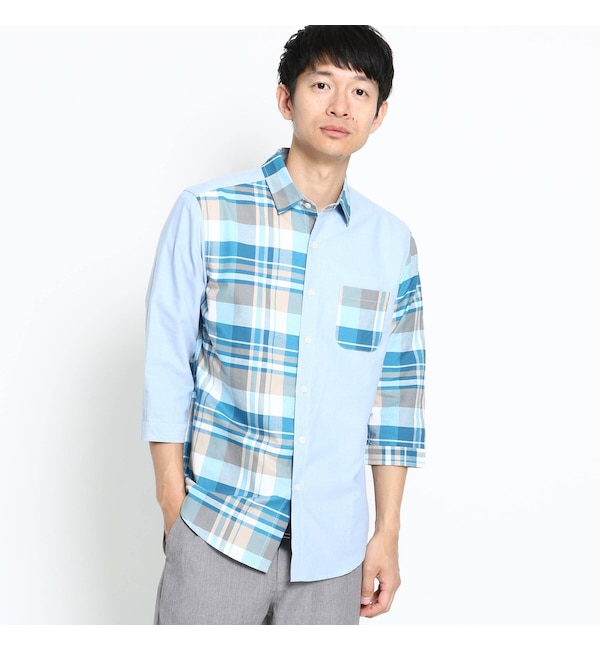 【ザ ショップ ティーケー/THE SHOP TK】 コンビチェック7分袖シャツ