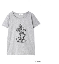 【ナチュラルビューティーベーシック/NATURAL BEAUTY BASIC】 ドローイングミッキープリントTシャツ [3000円(税込)以上で送料無料]