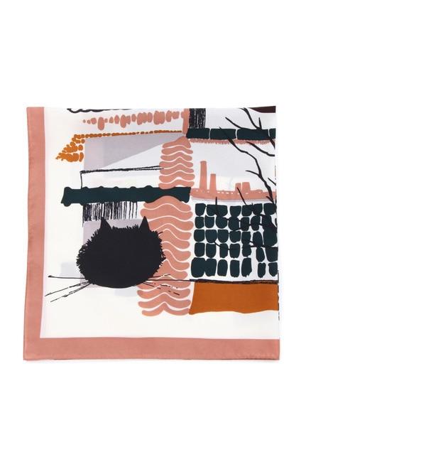 【ナチュラルビューティーベーシック/NATURAL BEAUTY BASIC】 猫風景柄スカーフ [3000円(税込)以上で送料無料]