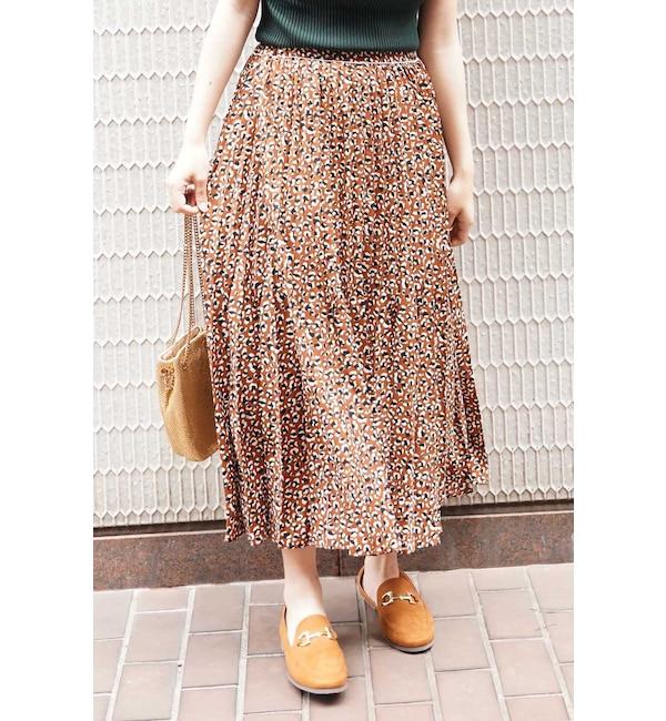 【フリーズマート/Free's Mart】 ◆レオパード変形プリーツスカート