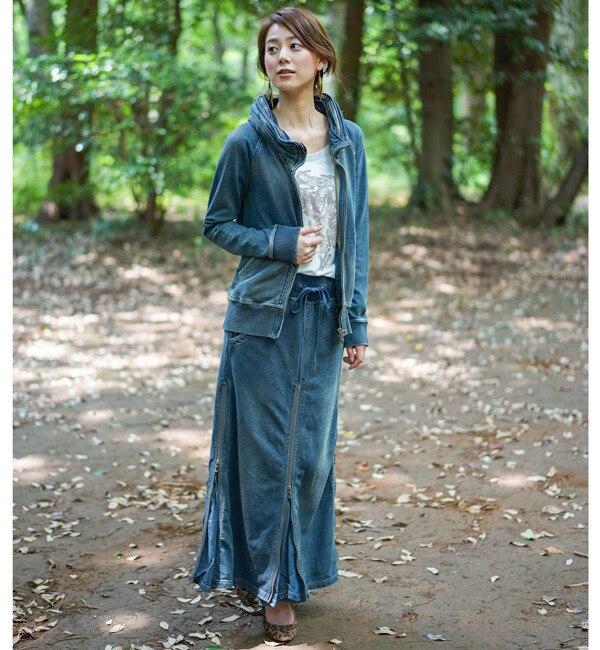 【goa/goa】 INDIGO裏毛 ロングスライダースカート [送料無料]