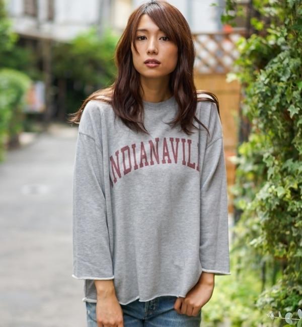 【goa/goa】 トップグレー プリント スウェット リメイク トップス [送料無料]