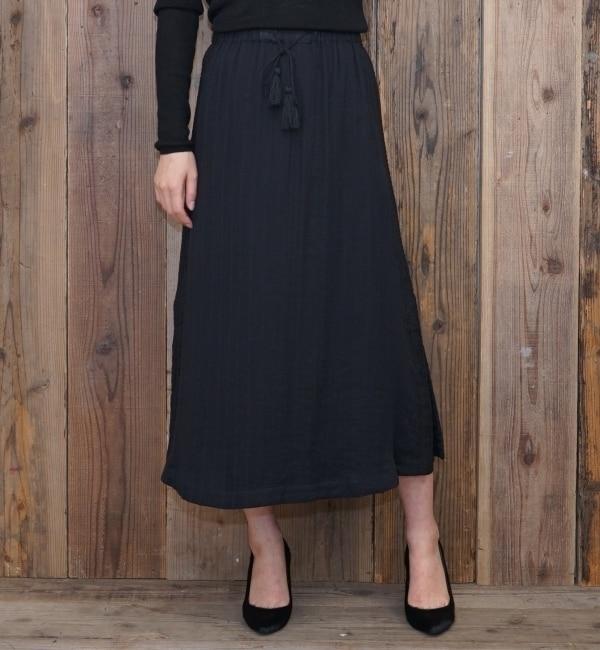 【goa/goa】 ダブルガーゼ ストライプ ボヘミアン 刺繍 ロングスカート [送料無料]