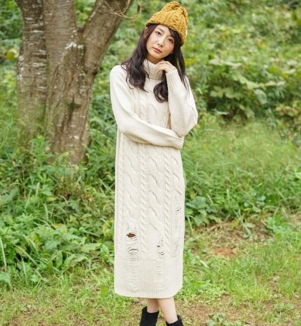 【goa/goa】 ケーブル編み 針抜き ニット オフタートル ロングワンピース [送料無料]