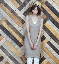 【goa/goa】 ウラ片畦 リネンニット Vネックロングベスト [送料無料]