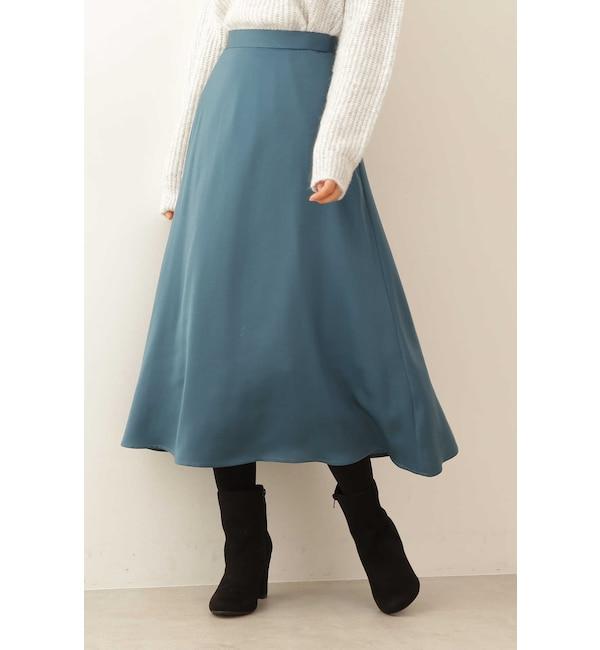 【プロポーションボディドレッシング/PROPORTION BODY DRESSING】 カラーサテンフレアースカート