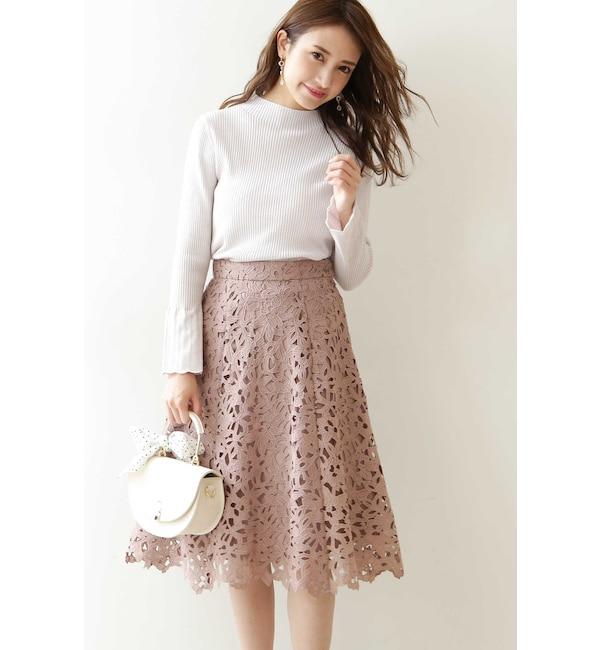 【プロポーションボディドレッシング/PROPORTION BODY DRESSING】 ◆ケミカルレースフレアスカート