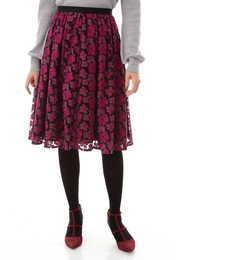 チュール刺繍スカート【ナチュラルビューティー/NATURAL BEAUTY レディス スカート ワイン ルミネ LUMINE】