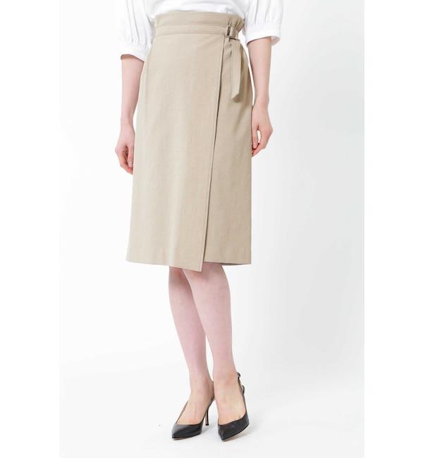 【ナチュラルビューティー/NATURAL BEAUTY】 麻混アシンメトリーラップスカート