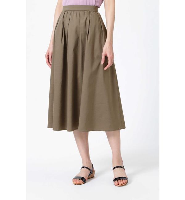 【ナチュラルビューティー/NATURAL BEAUTY】 [ウォッシャブル]ツイルミディ丈スカート