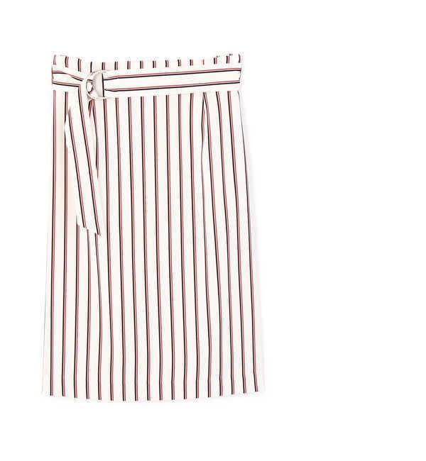【ヴァンドゥー・オクトーブル/22 OCTOBRE】 [ウォッシャブル][PRE FALL]マルチストライププリントスカート