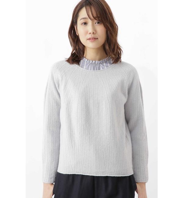 【ヒューマンウーマン/HUMAN WOMAN】 ≪Japan couture≫ホールガーメント求心柄プルオーバー