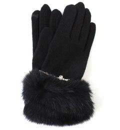 【ルゥ デ ルゥ/Rew de Rew】 ファー×ストーン付エレガント手袋(6R18-TB01) [送料無料]