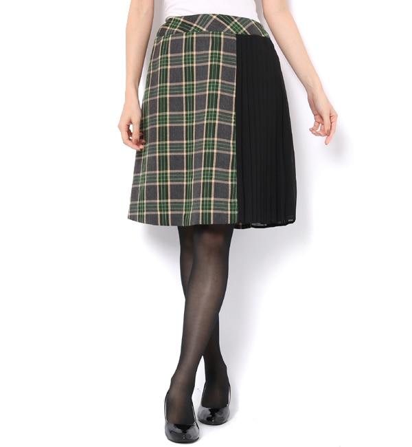【ルゥ デ ルゥ/Rew de Rew】 プリーツ×配色台形スカート(8R10-10050)