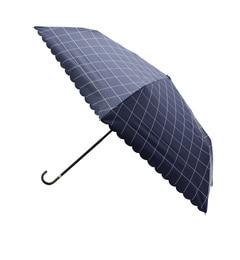【パサージュ ミニョン/passage mignon】 晴雨兼用UVチェックスカラップ折り畳み傘 [3000円(税込)以上で送料無料]