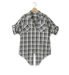 【シューラルー/SHOO・LA・RUE】 前結びドルマンチェックシャツ [3000円(税込)以上で送料無料]